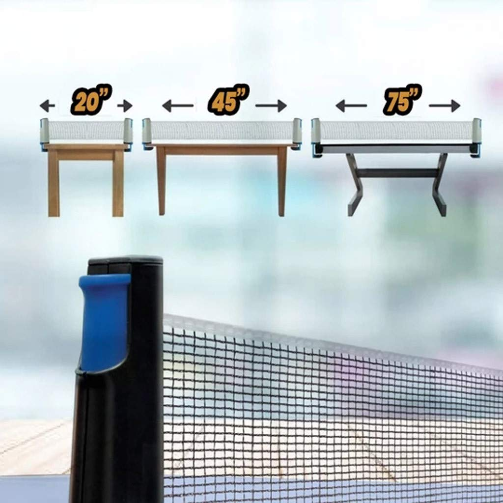 Coohole Table Tennis Nets Ping-Pong Replacement Set Collapsible Professional Portable Adjustable Post Length Expands to 190 cm 74.8In for Indoor Outdoor Training and Competition Gray