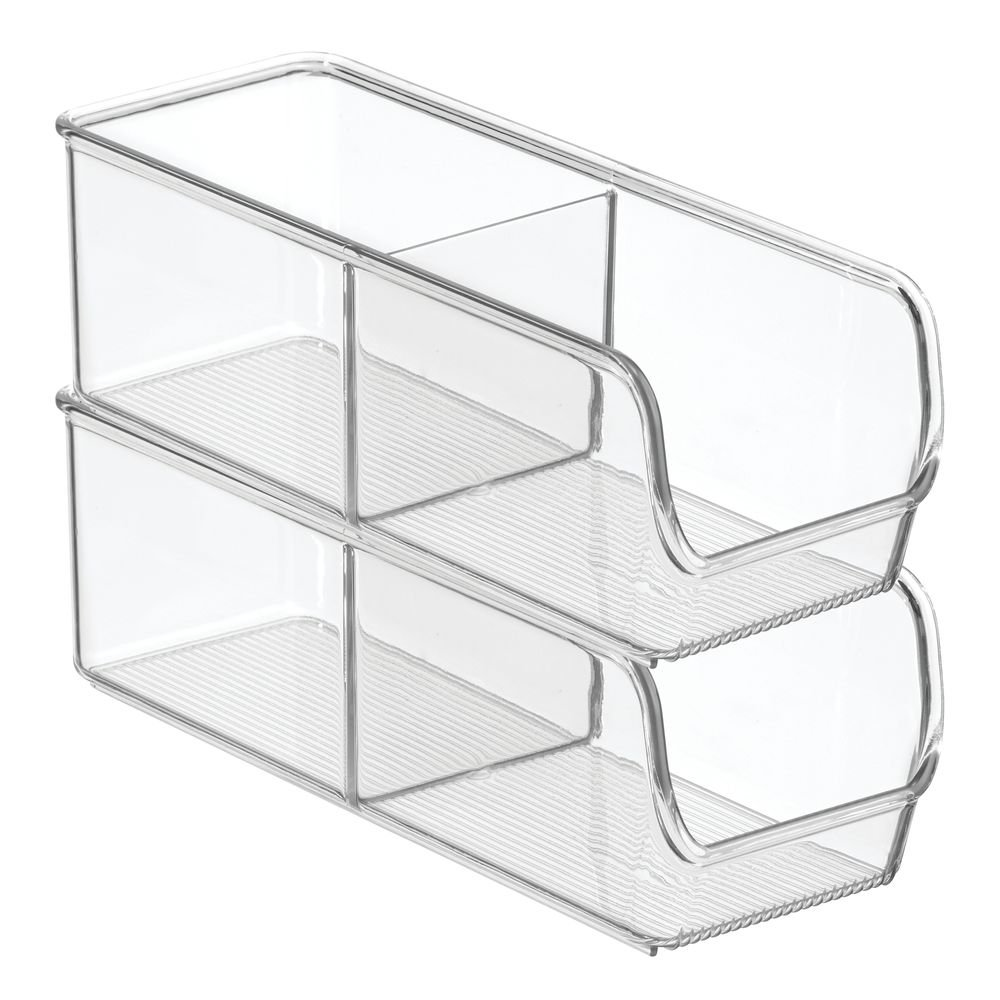 InterDesign Linus Kitchen, Pantry, Refrigerator, Freezer Storage Container-Divided 2 Compartment, 2-Pack, Clear 57130M2