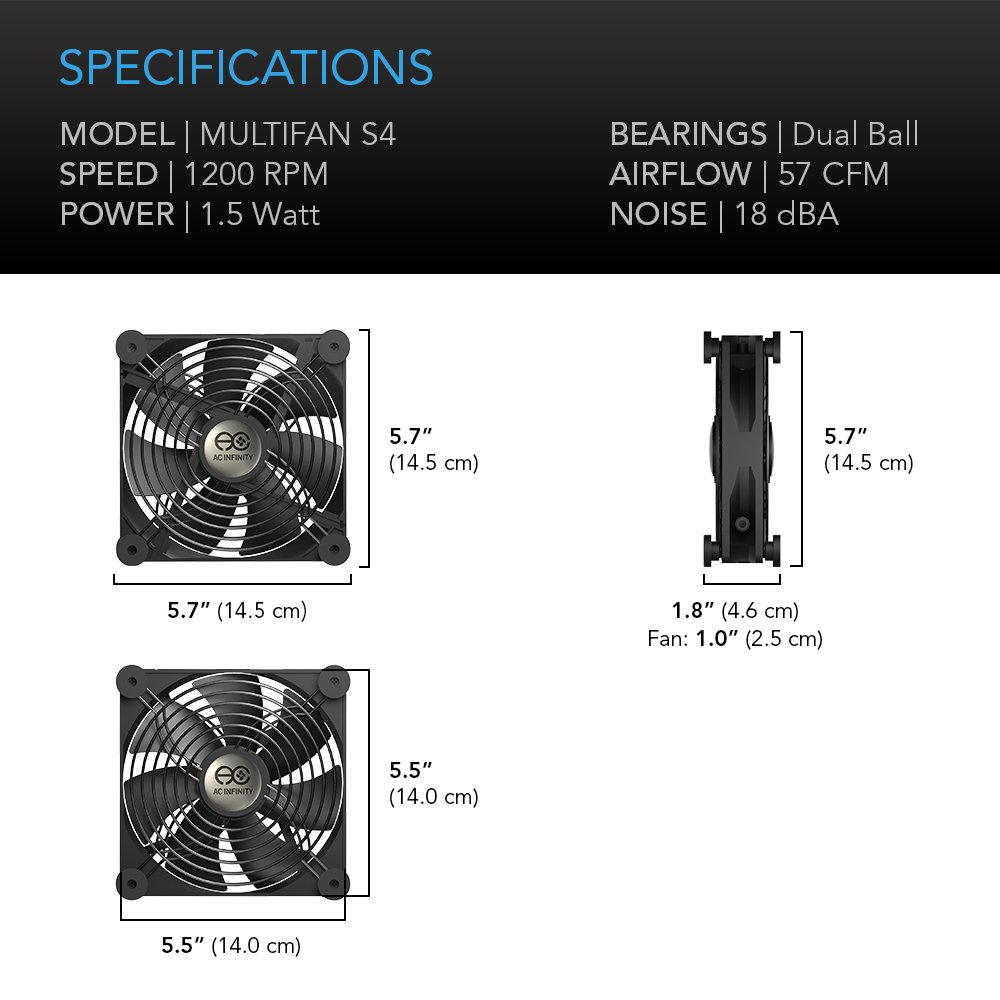AC Infinity MULTIFAN S4, Quiet 140mm USB Fan for Receiver DVR Playstation Xbox Computer Cabinet Cooling by AC Infinity