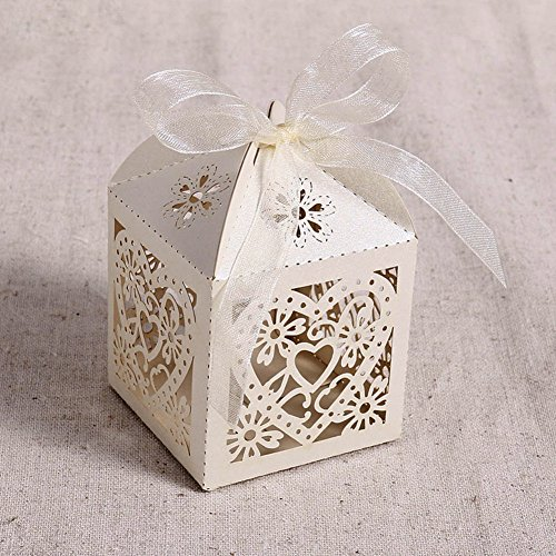 Love Heart Laser Cut Wedding Candy Box 100pcs Party Favor Boxes with Ribbons