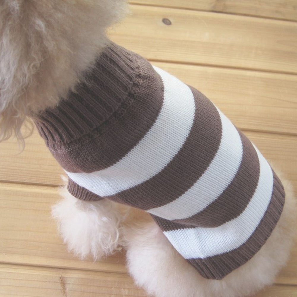 Brown&White Stripe XS Brown&White Stripe XS Tangpan Turtleneck Stripes Pet Clothes Dog Wool Classic Sweaters