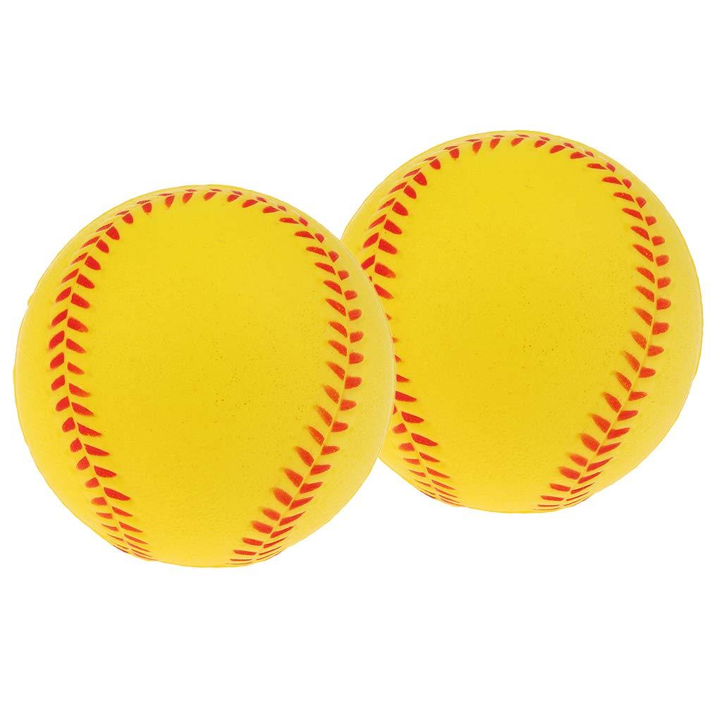 NON Baoblaze 2pcs Pelota de Sófbol de Cuero Sintético para Práctica de Béisbol - Amarillo