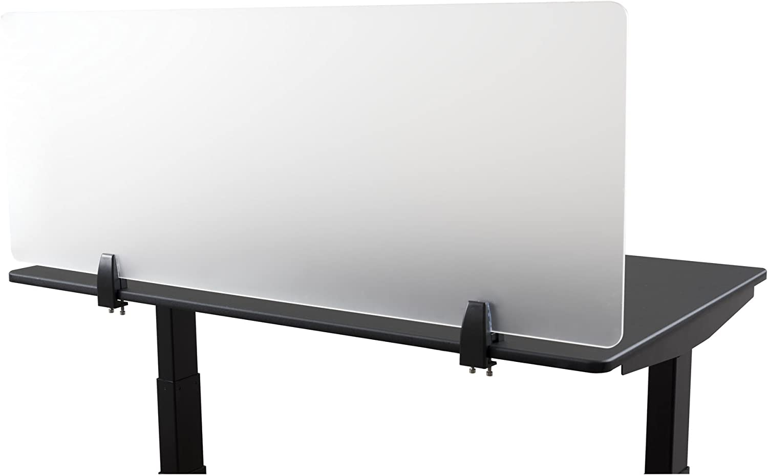 "Desk Mounted Privacy Panel – Frosted Desk Divider and Office Partition for Desks Up to 1"" Thick (48"" Wide, Frosted)"