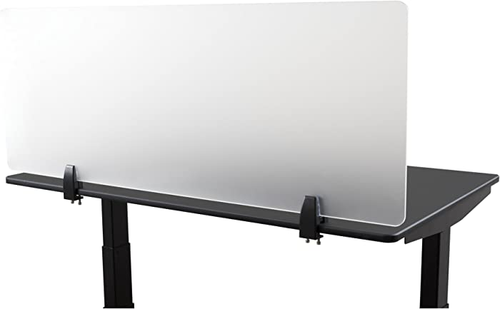 """Desk Mounted Privacy Panel – Frosted Desk Divider and Office Partition for Desks Up to 1"""" Thick (48"""" Wide, Frosted)"""