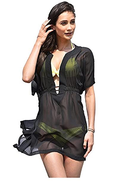 6ed20779103 NFASHIONSO Women s Sexy Deep V Neck Swimsuit Cover Up Beachwear Dress Black