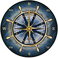 Printing Round Rug,Compass,Navigation Golden Compass with Windrose and Helm on a Wavy Backdrop Maritime Decorative Mat Non-Slip Soft Entrance Mat Door Floor Rug Area Rug For Chair Living Room,Yellow N