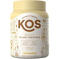 KOS Organic Plant Based Protein Powder - Vanilla Protein Powder - Gluten, Dairy & Soy Free Vegan Protein Powder - Ideal for Meal Replacement Shakes for Weight Loss - 1.2 Pounds, 15 Servings