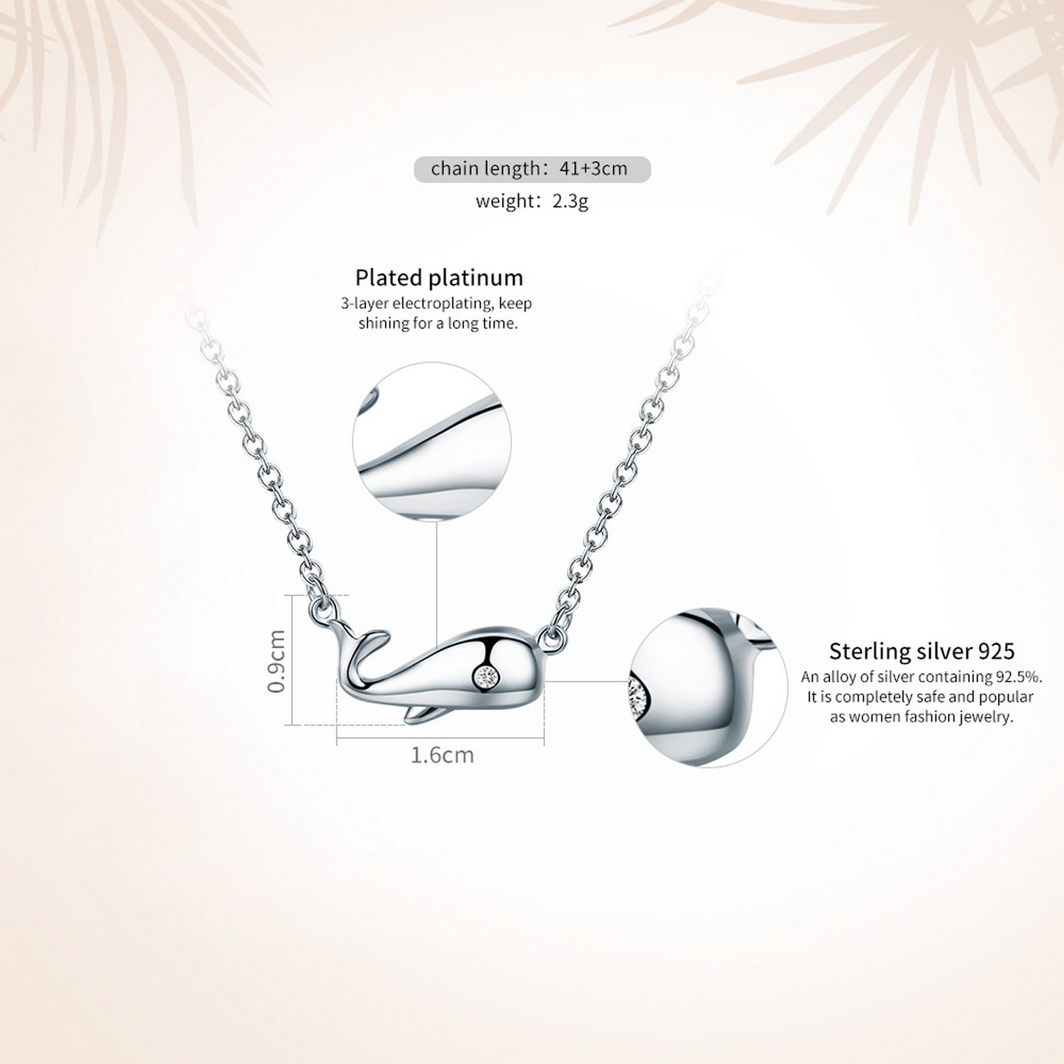 CS-DB Jewelry Silver Ocean Smooth Dolphin Chain Charm Pendants Necklaces