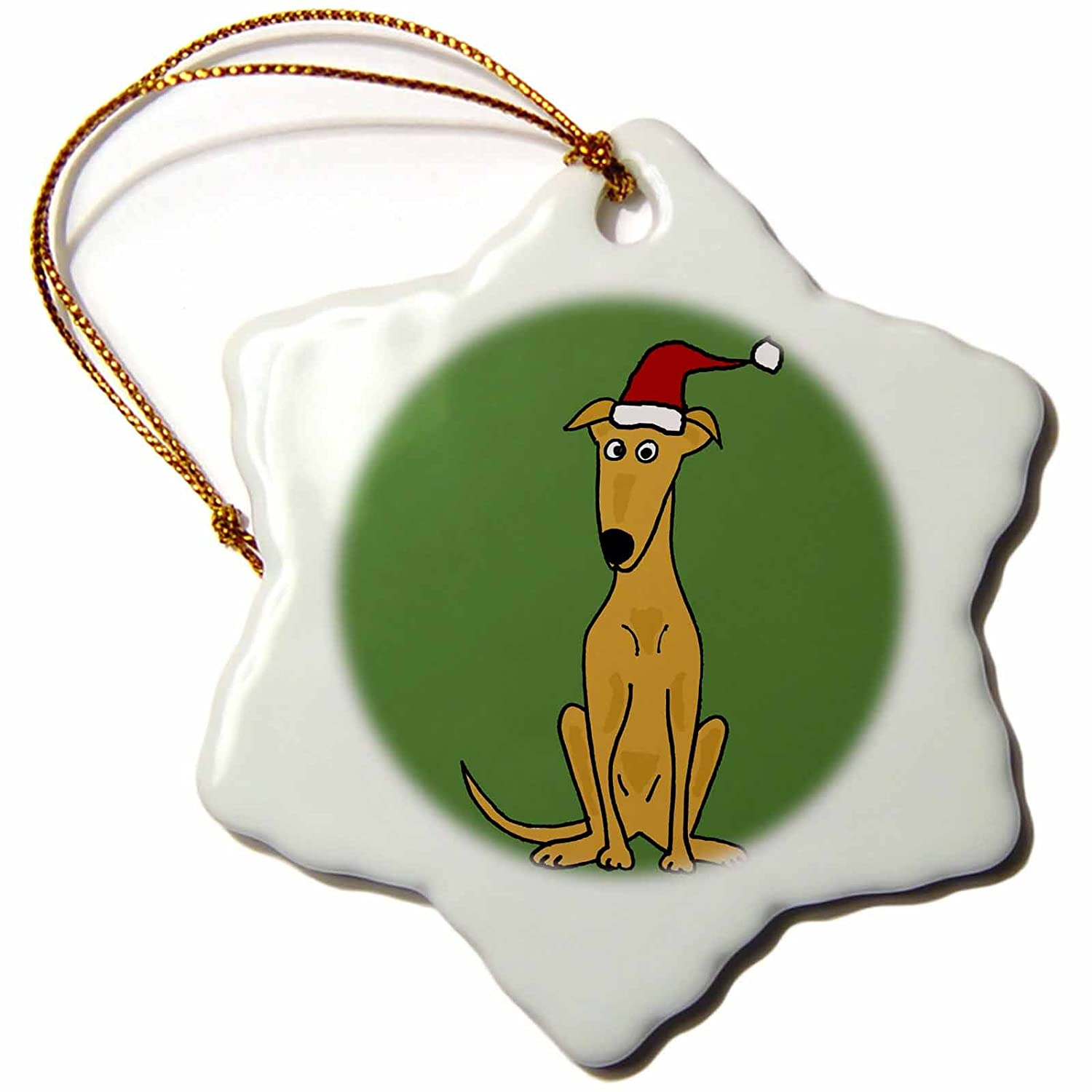 Porcelain 3dRose orn/_200596/_1 Funny Greyhound Puppy Dog in Santa Hat Christmas Art-Snowflake Ornament 3-Inch