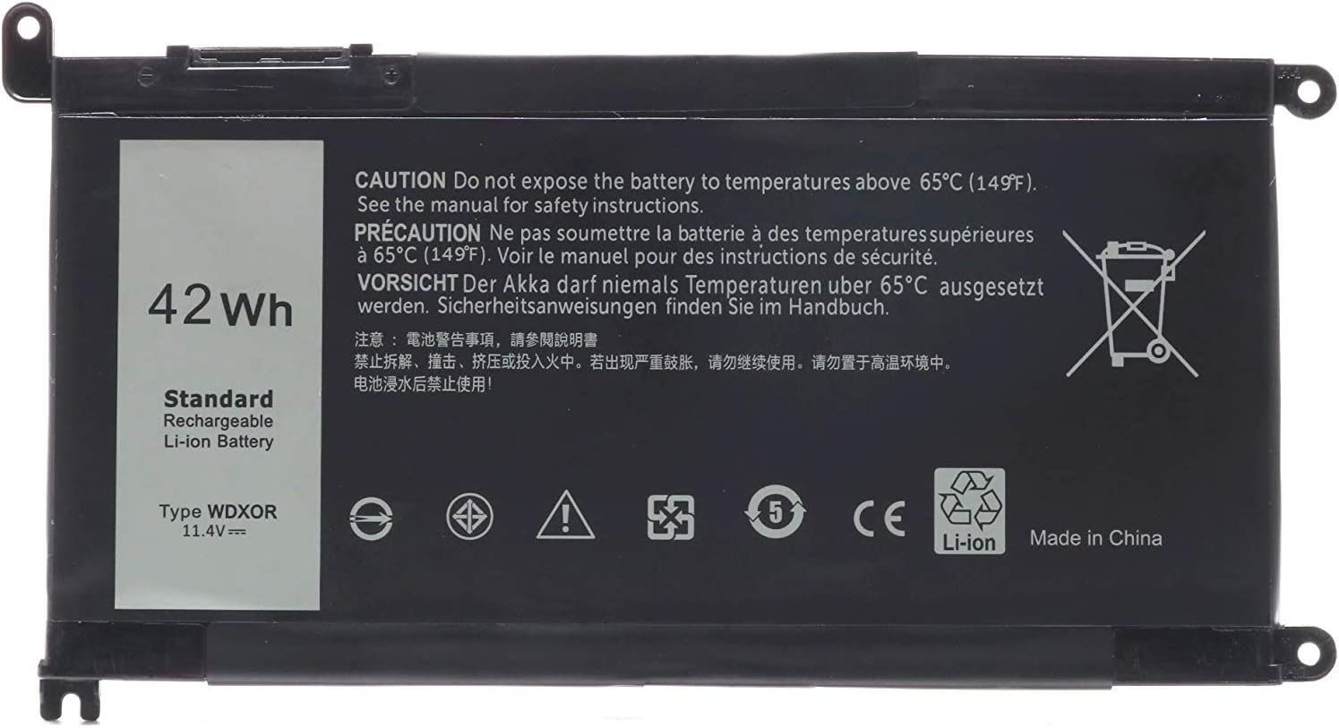 Ursulan WDX0R Laptop Battery for Dell Inspiron 13 5368 5378 5379 7368 7378 Inspiron 14-7460 Inspiron 15 5565 5567 5568 5578 7560 7570 7579 7569 Inspiron 5000 7000 17 5000 Series Laptop 3CRH3 T2JX4