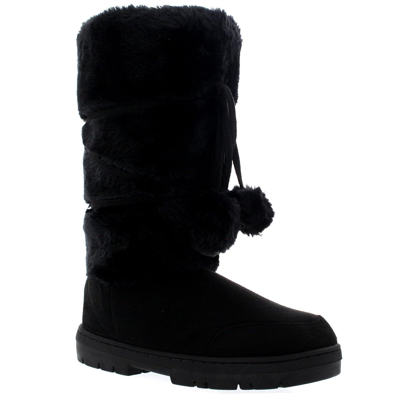 Amazon.com | Womens Pom Pom Tall Rain Snow Winter Flat Warm Lace Up Boots | Snow  Boots