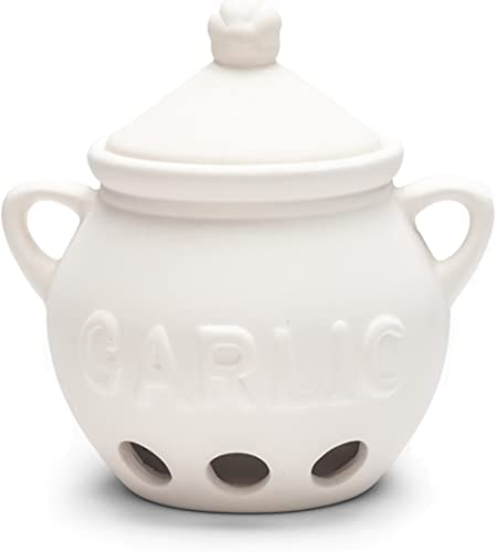 Fox Run 3971 Garlic Keeper, White Ceramic