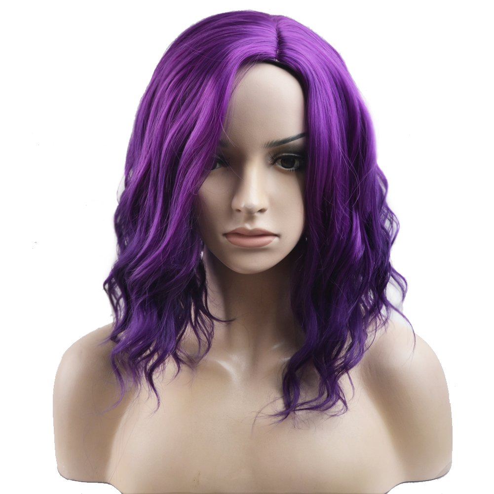 BERON Short Curly Bob Wig Charming Women Girls Beach Wave Wigs for Cosplay Costume Party Wig Cap Included (Mix Purple)