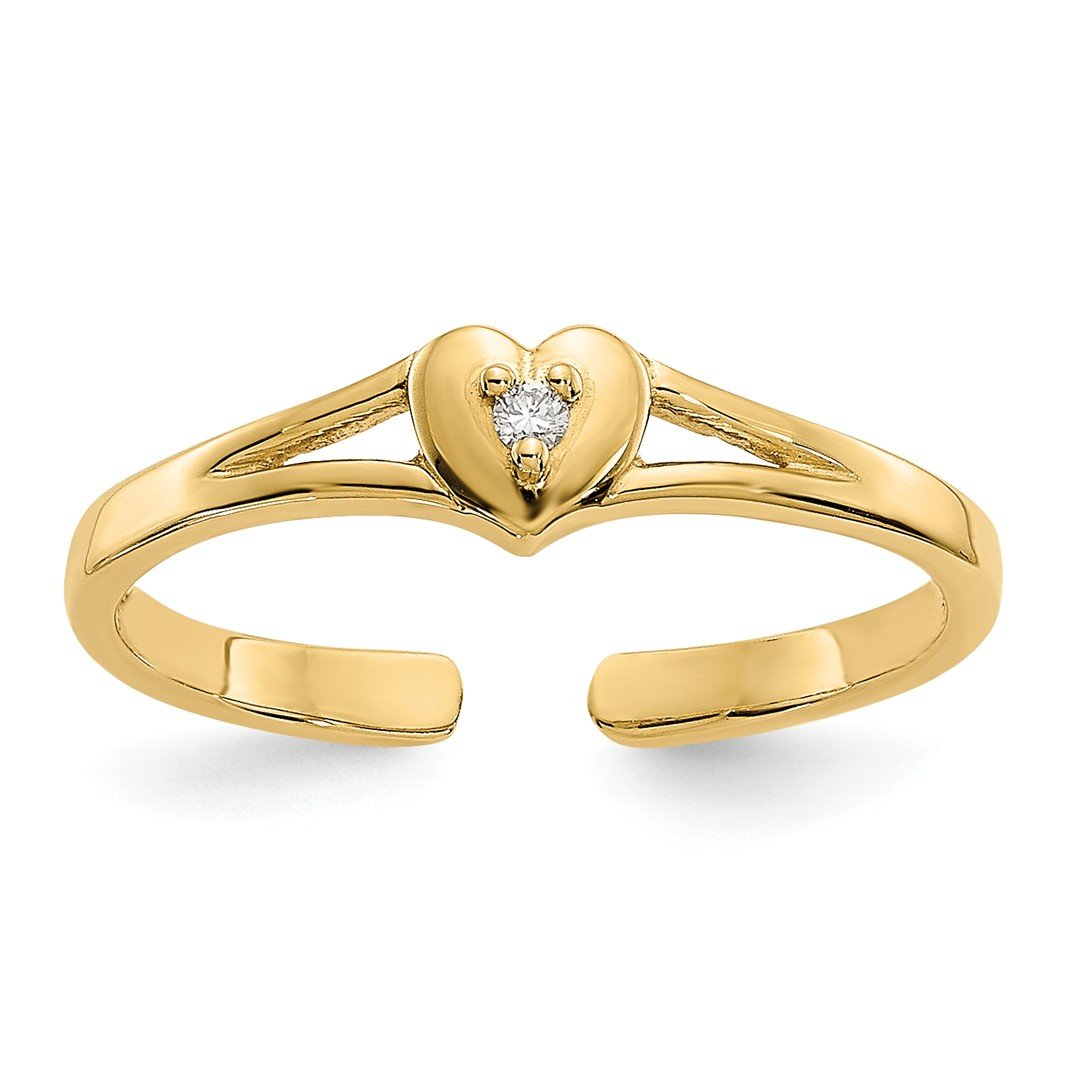 ICE CARATS 14k Yellow Gold .01ct Diamond Heart Adjustable Cute Toe Ring Set Fine Jewelry Gift Set For Women Heart