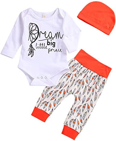 Infant Cute Baby Boy Girl Feather T shirt Tops Striped Pants Clothes Outfits Set