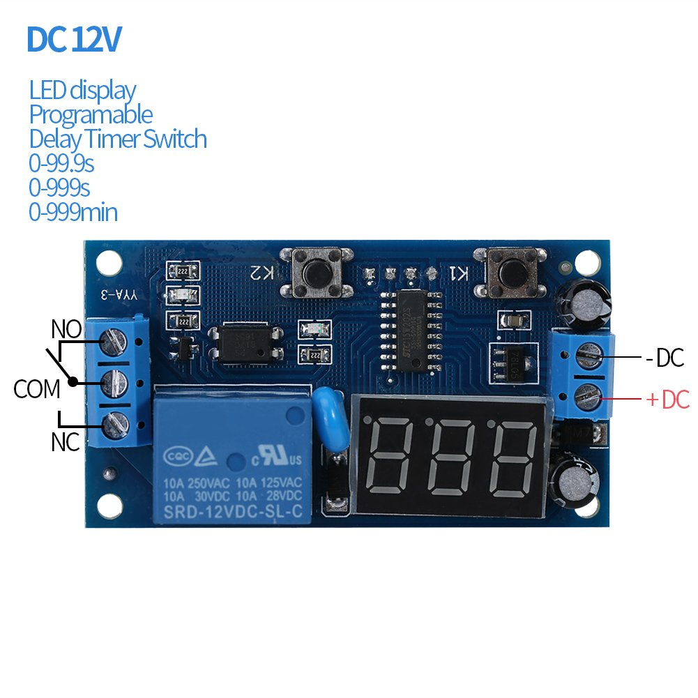 Dc 12v Adjustable Cycle Timer Delay Switch Circuit Board Infinite Photo Loop Timing Relay Module With Led Display