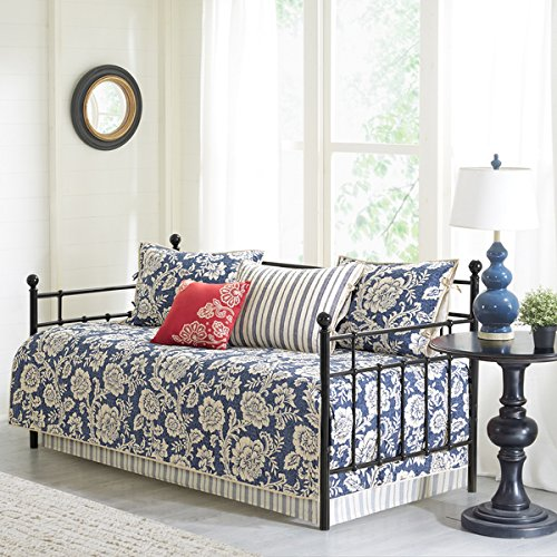 Georgia Navy Printed 6 Pieces Cotton Twill Reversible Daybed Cover Set by Generic