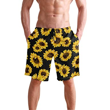 836fc64ba5 Image Unavailable. Image not available for. Color: CENHOME Mens Swim Trunks  Yellow Blooming Sunflowers Black Beach Board Shorts