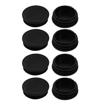 sourcing map 8 piezas tubo acanalado inserte la Tapón para pata de silla redondo negro PVC Tubería enchufe 48mm diámetro: Amazon.es: Coche y moto