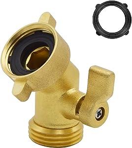 HYDRO MASTER 0714001 45 Degree Heavy Duty Brass Shut Off Valve,Garden Hose Elbow Connector,3/4