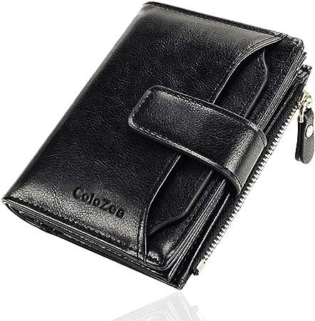 RFID Credit Card Case Holder Mens Blocking Zipper Pocket Leather Thin Wallet