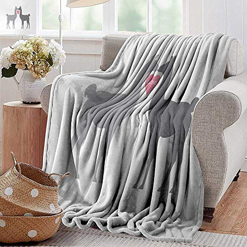 XavieraDoherty Flannel Throw Blanket,Llama,Two Animals in Love with a Heart Between Them LLove Quote Greyscale Animals,Grey Pale Grey Pink,Winter Luxury Plush Microfiber Fabric 30