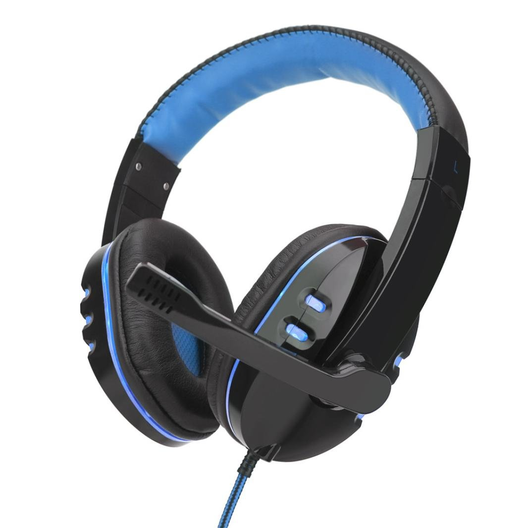 Livoty headset,Stereo Gaming Headset Headband Headphone USB 3.5mm LED with Mic for PC (blue)