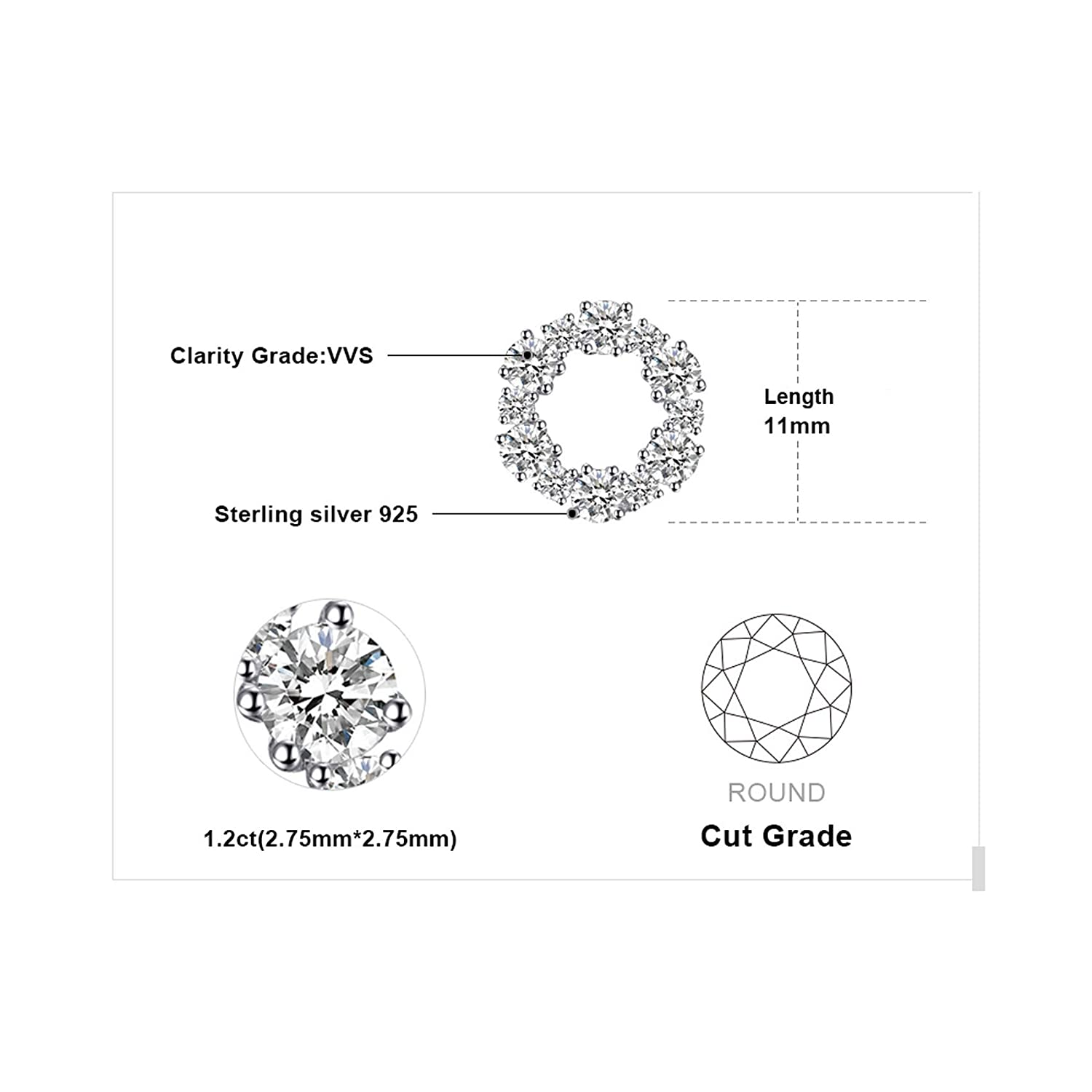 CS-DB Silver Hollow Circle Clear Round Cubic Zirconia Trendy Stud Charm Earrings