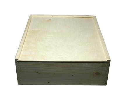 Faba Home - Estuche de regalo de madera para botellas de vino, con tapa deslizante, caja de madera sin tratar, madera, naturaleza, 3 Flaschen