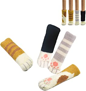 20PCS (5 Sets) Chair Socks Fancy Table Leg Pads with Cute Cat Paws Design, Reliable Furniture and Floor Protector, 4 Different Patterns + 1 Black Pattern - Pack of 20 Socks