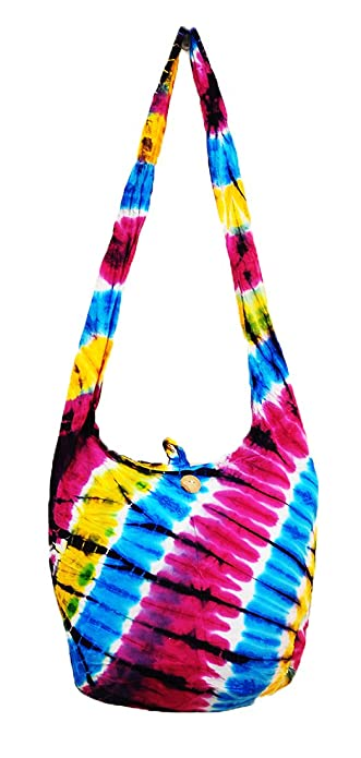 ad57cfc2a3b Thai Hippie Tie Dye Hobo Sling Crossbody Shoulder Bag Purse Handmade Zip  Mix Pattern Cotton Gypsy