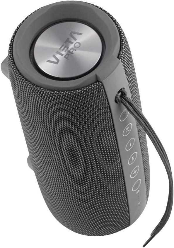 Vieta Pro Upper - Altavoz portátil (Bluetooth, Radio FM, micrófono integrado, True Wireless Dual pair, Reproductor USB, Lector de tarjeta Micro SD, Resistencia al agua IPX6) color plomo