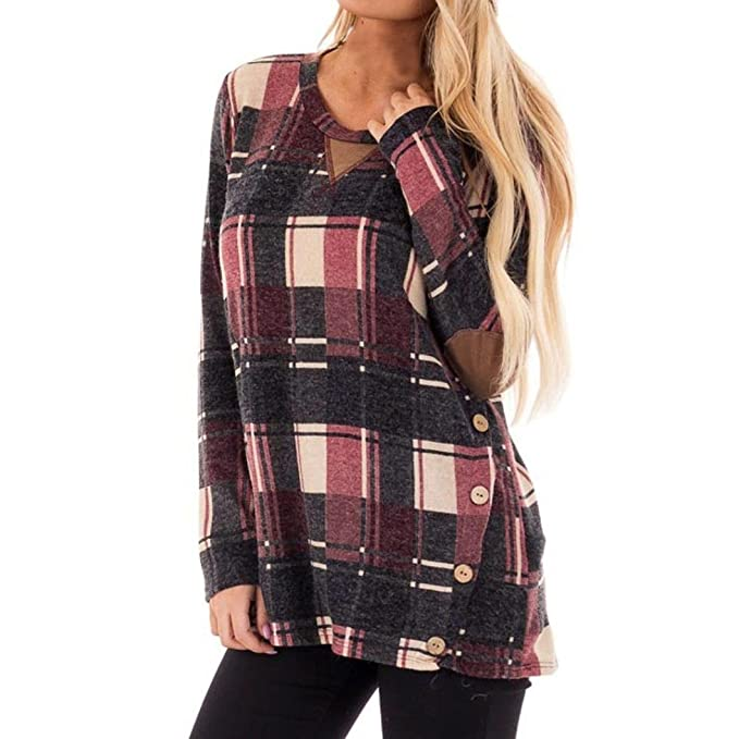 Yannerr mujer primavera Cuadros estampada cuello redondo botón casual manga larga básica inferior camiseta tops suéter