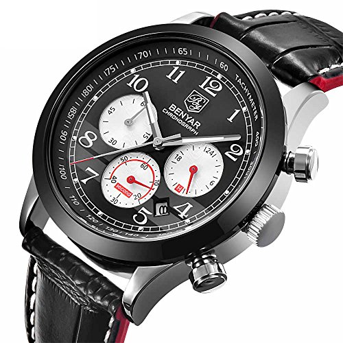Watch Men Leather Luxury Brand Business Casual Date Chronograph Waterproof Sports Military Quartz Watches (Black red) by BENYAR