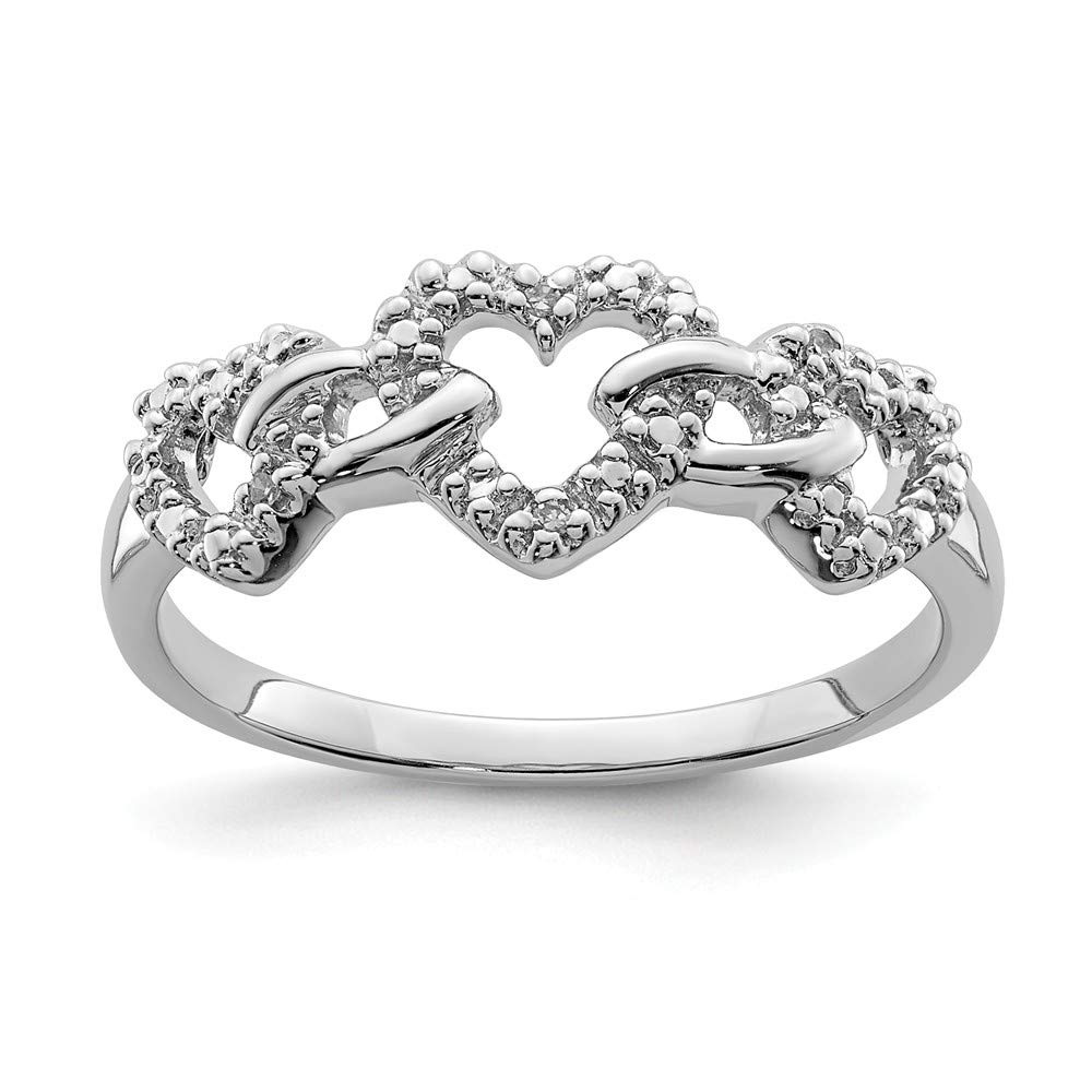 Sterling Silver Themed Ring Solid 2 mm Diamond Triple Heart Ring