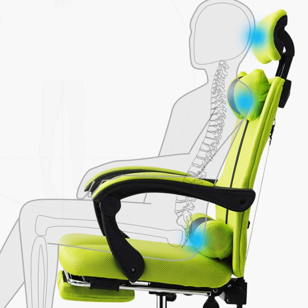 Kiki kontorsstol datorstol med fotstöd datorstol rygg enkel hemstol vilande chef stol kontor sovsal svängbar stol spelstol ergonomisk kontorsstol Gray With Footrest