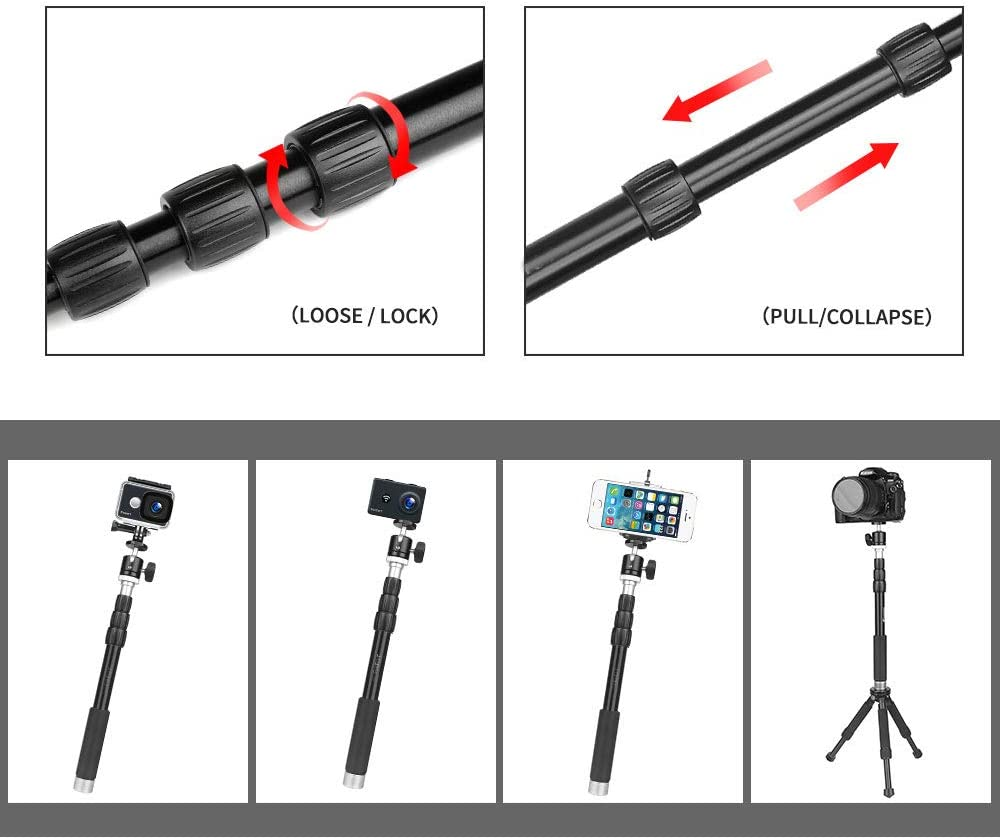 96cm Portable Aluminum Camera Monopod for GoPro Hero 8 7 5 Black 4 Xiaomi Yi 4K Canon H9 DSLR Selfie Stick with Ball Head