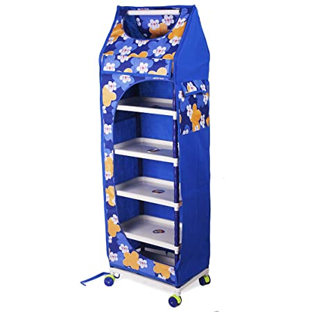 Ebee Baby 6 Shelves Printed Wardrobe (Blue)