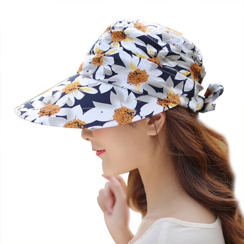 3bd17b8dfd0 Women Summer Sun Hat Large Brim Baseball Cap Removable Travel Visor Anti-UV  Beach Hat at Amazon Women s Clothing store
