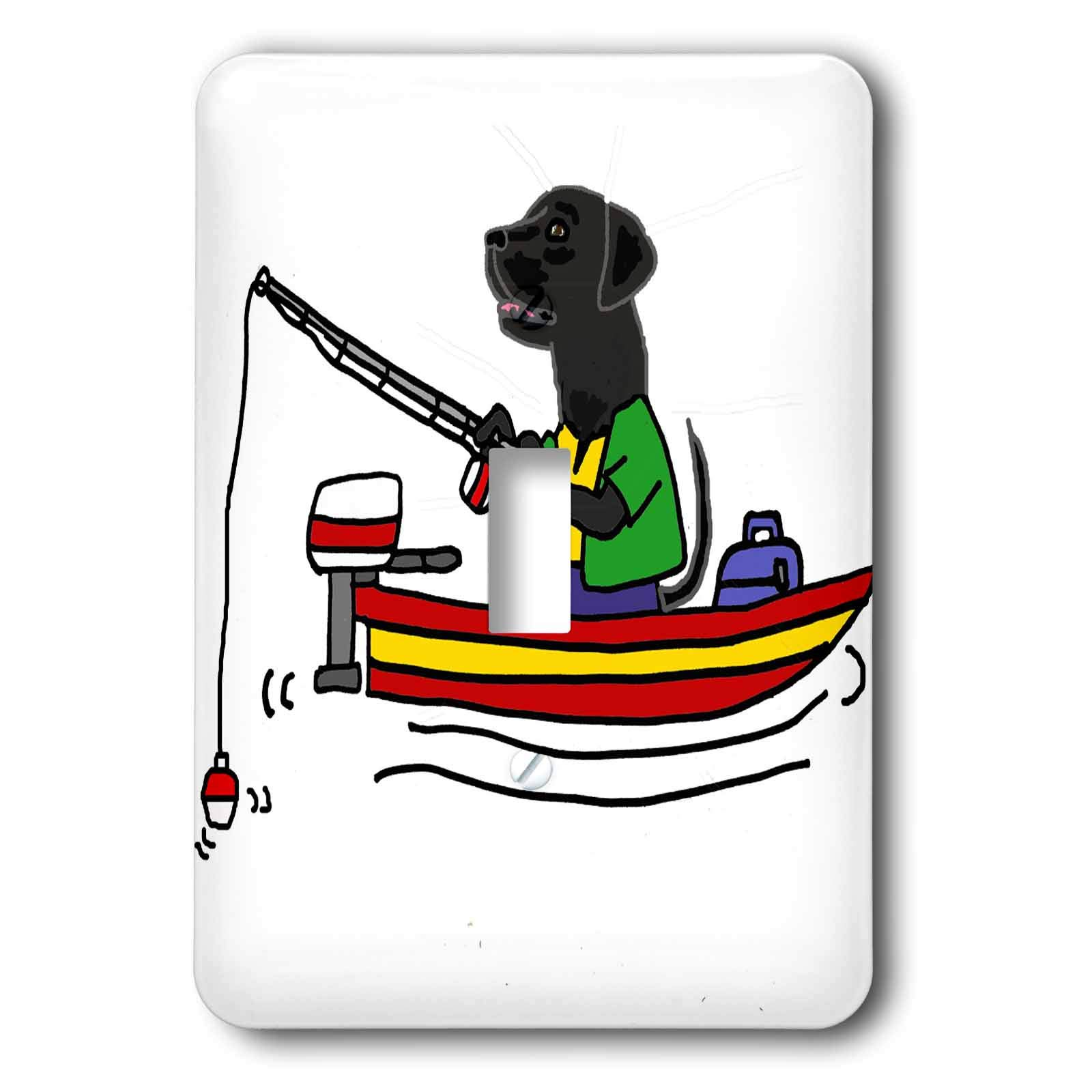 3dRose All Smiles Art Sports and Hobbies - Cute Funny Black Labrador Retriever Dog Fishing Cartoon - Light Switch Covers - single toggle switch (lsp_288068_1)