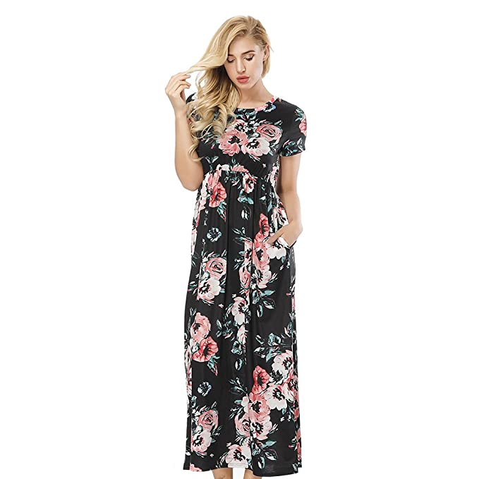 6045326c ORICSSON Womens Short Sleeve Dress Floral Print High Waist Casual Tunic  Long Midi with Side Pockets