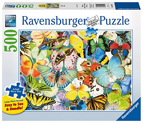 Ravensburger Butterflies Large Format 500 Piece Jigsaw Puzzle for Adults – Every Piece is Unique, Softclick Technology Means Pieces Fit Together Perfectly by Ravensburger