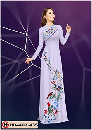 Traditional Vietnamese Long Dress Collections with Pants Ao Dai Silk 3D ADVN08052075