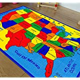 handcraft rugs usa map educational play time clroom kids rugs 5 ft by 7