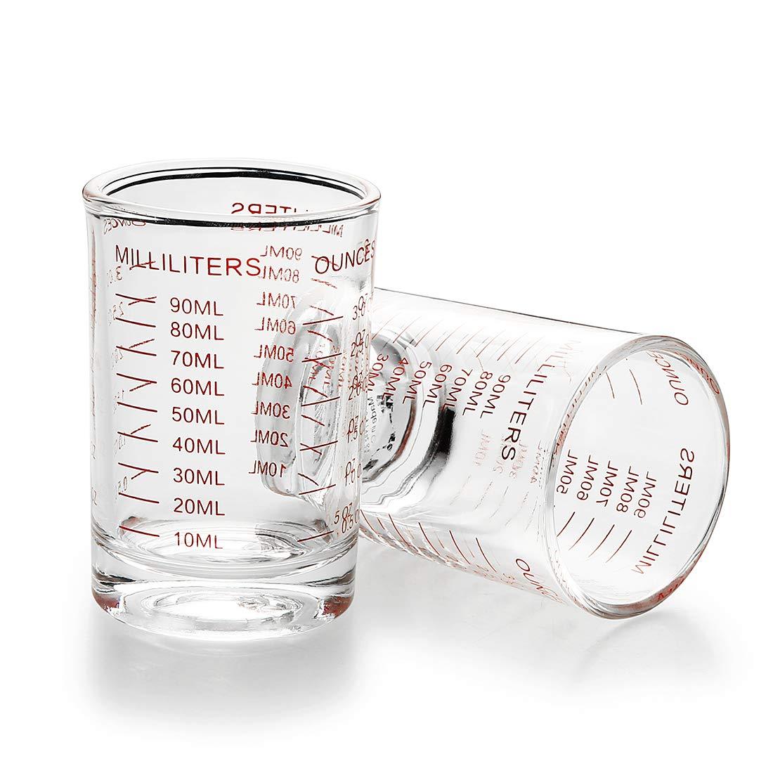 Measuring Cup Shot Glass 3 Ounce/90ML Liquid Heavy Glass (2) by Nansch