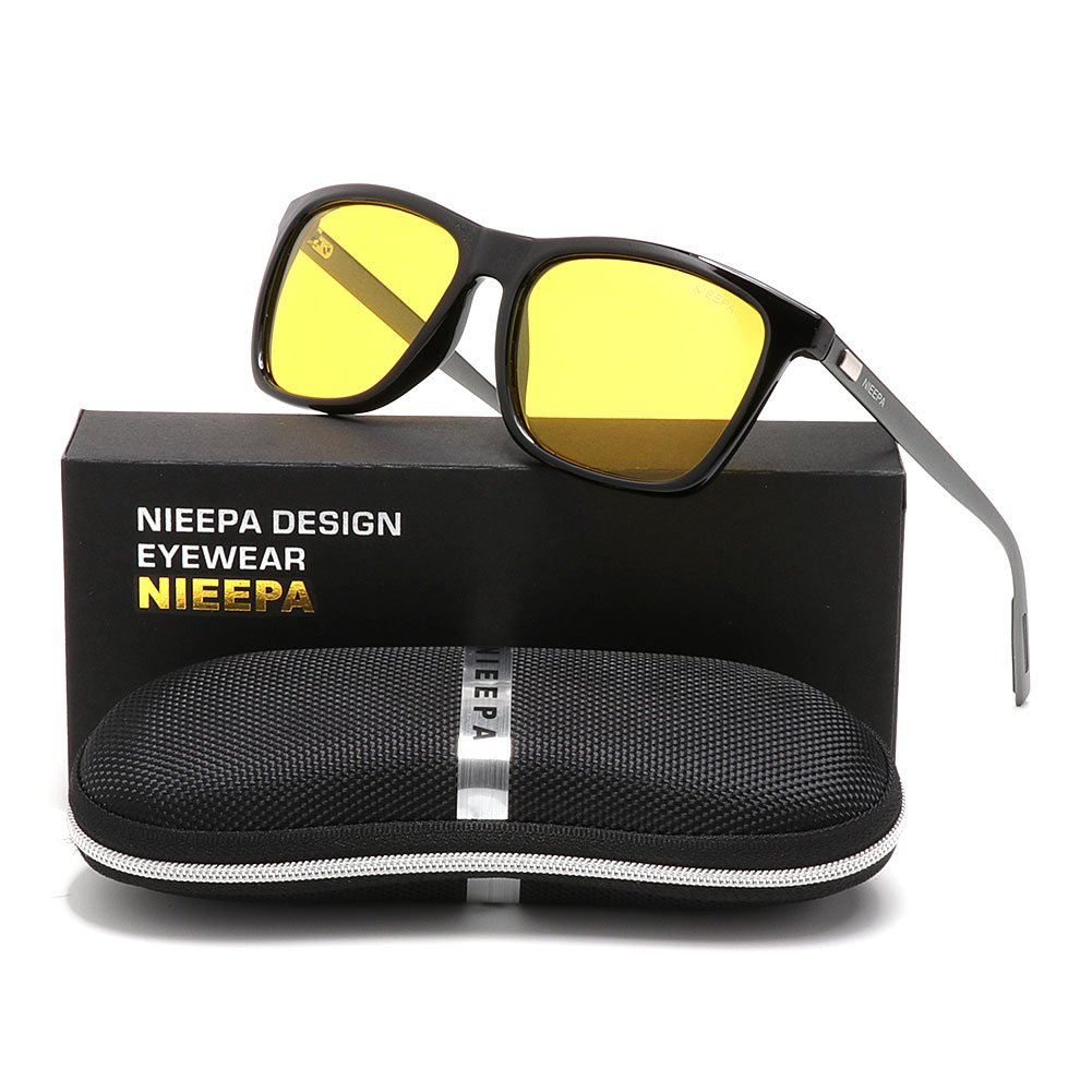 HD Night Vision Polarized Sunglasses Square Yellow Lens Aluminum Magnesium Temple Spring Hinges Driving Sun Glasses Men Women Classic Retro Wayfarer Glasses (Night Vision Lens/Bright Black Frame, 57)