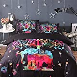 Meeting Story 3PCS Animals ELEPHANT Printed Duvet Cover Set, Microfiber Bedding Set (Queen, COLORFUL ELE)