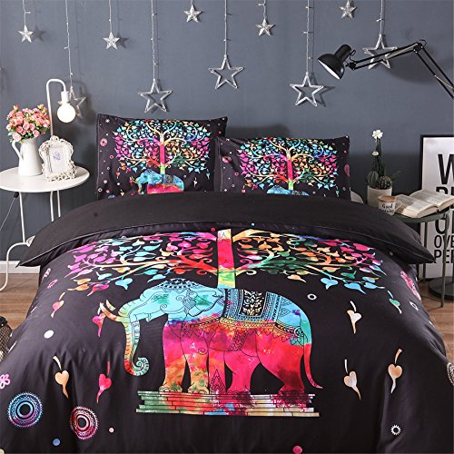 Meeting Story 3PCS Animals ELEPHANT Printed Duvet Cover Set, Microfiber Bedding Set (Queen, COLORFUL ELE) by Meeting Story