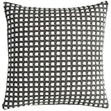 KavaasCasa Boutique Throw Pillow Covers Check Plaid Cushion Shells, Yarn-Dyed Thick Thread Decorative Pillowcases, 18 x 18 Inch, Gray