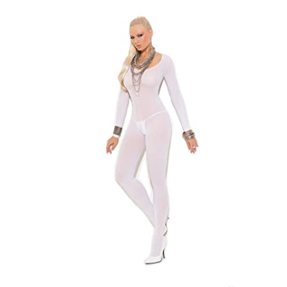19dca3a62 Women s Opaque Long Sleeve Crotchless Bodystocking